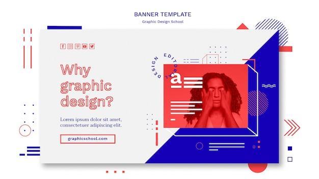 Modelo de banner de conceito de escola de design gráfico