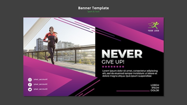 Modelo de banner de conceito de esporte e tecnologia mock-up