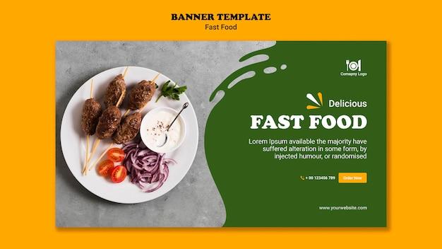 Modelo de banner de conceito de fast food