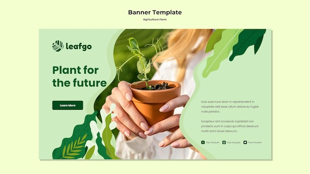 Modelo de banner de conceito de fazenda agrícola