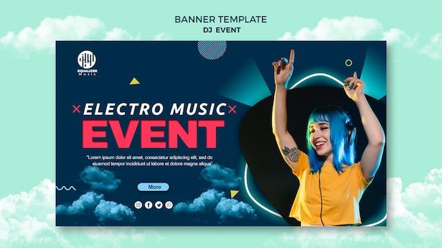 Modelo de banner de conceito de festa de música