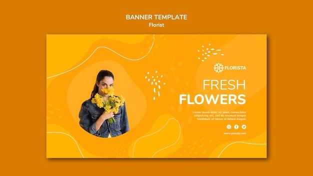 Modelo de banner de conceito de florista