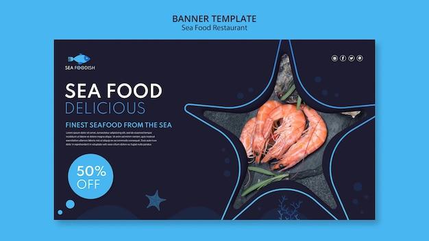 Modelo de banner de conceito de frutos do mar Psd grátis