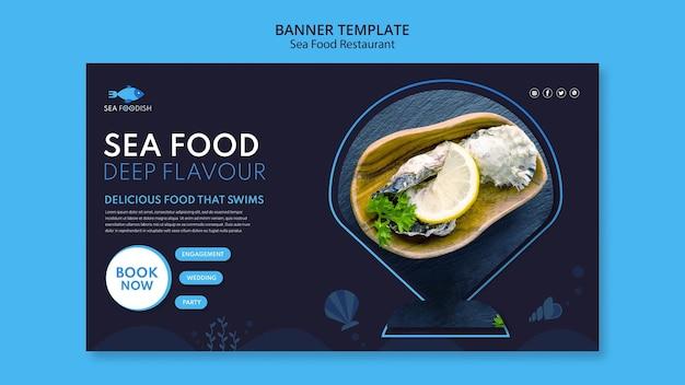 Modelo de banner de conceito de frutos do mar