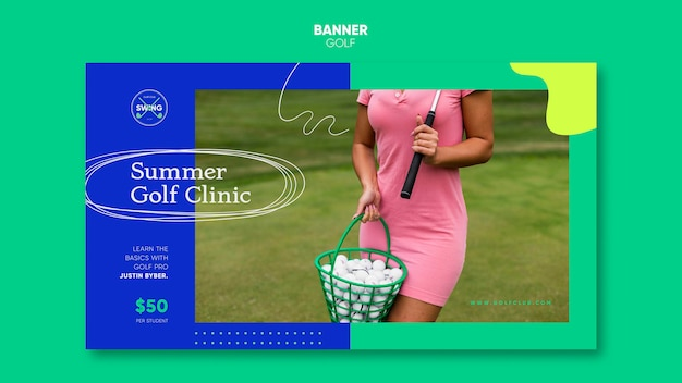 Modelo de banner de conceito de golfe