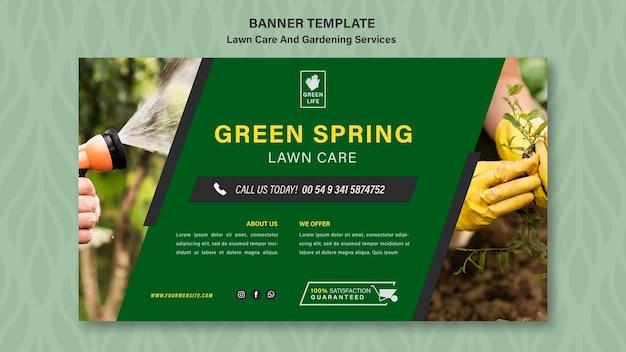 Modelo de banner de conceito de gramado