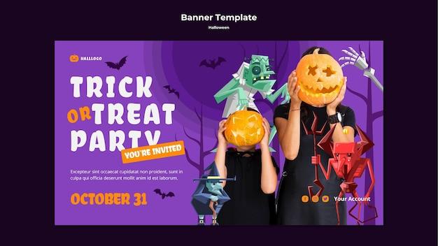 Modelo de banner de conceito de halloween