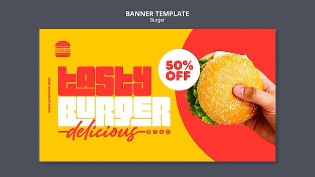 Modelo de banner de conceito de hambúrguer