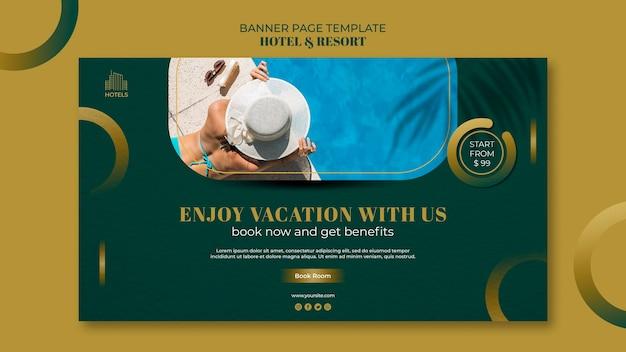 Modelo de banner de conceito de hotel e resort