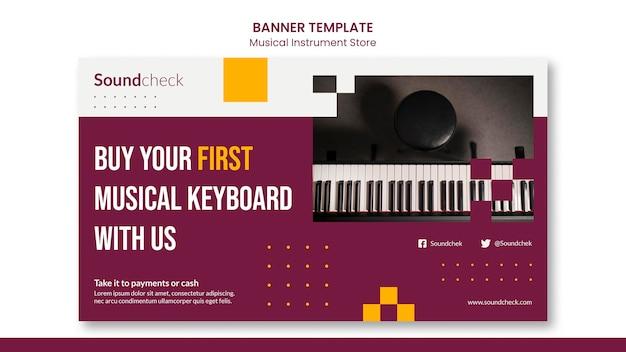 Modelo de banner de conceito de instrumento musical