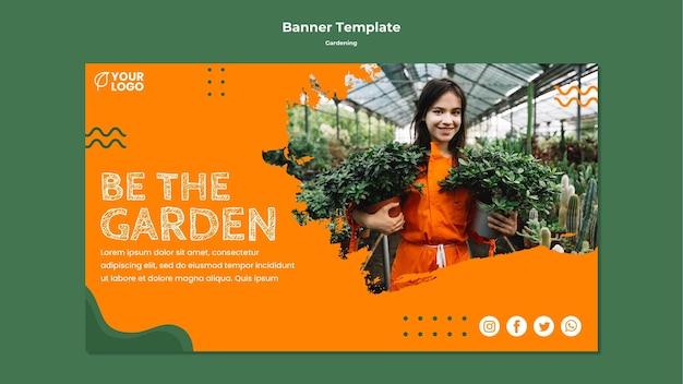 Modelo de banner de conceito de jardinagem