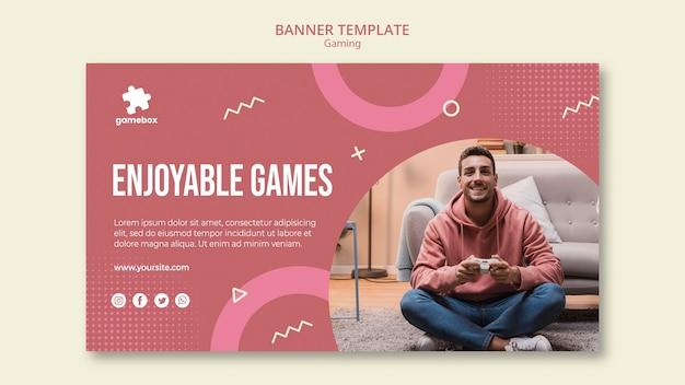 Modelo de banner de conceito de jogos