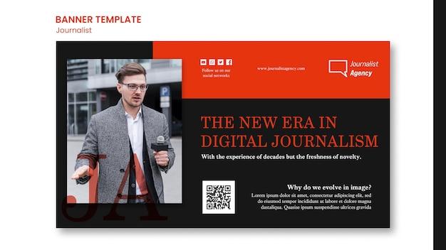 Modelo de banner de conceito de jornalista