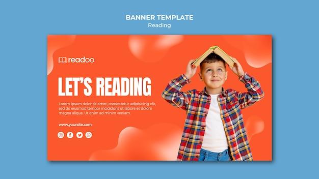 Modelo de banner de conceito de leitura