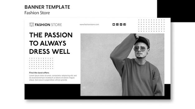 Modelo de banner de conceito de loja de moda