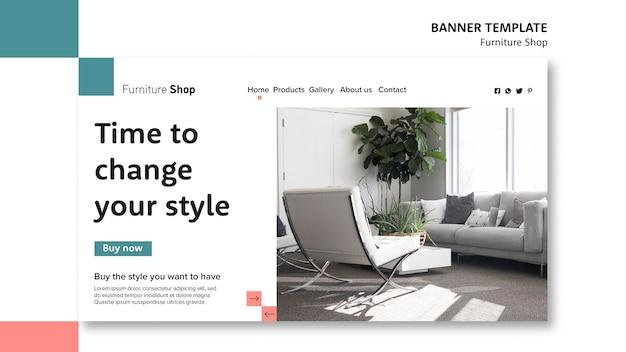 Modelo de banner de conceito de loja de móveis