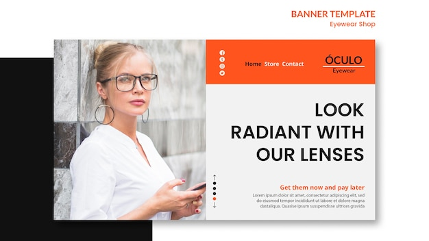 Modelo de banner de conceito de loja de óculos