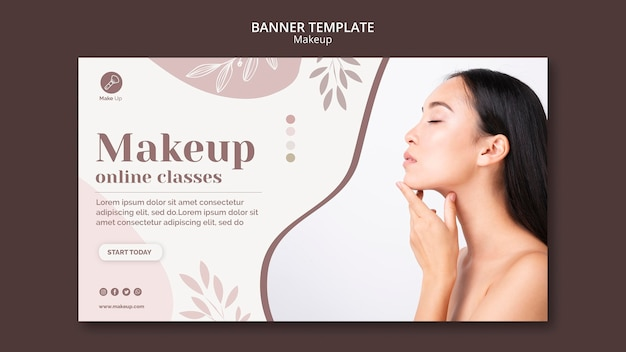 Modelo de banner de conceito de maquiagem