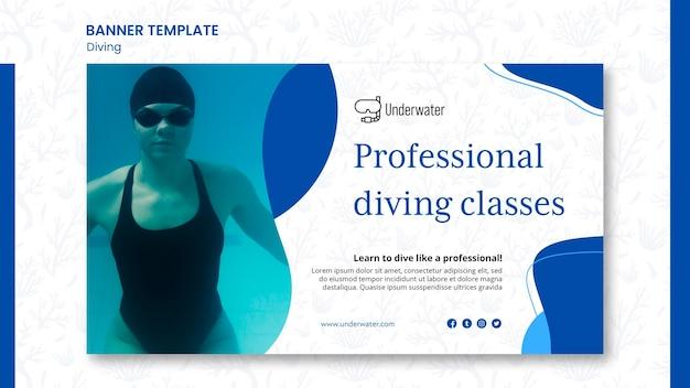 Modelo de banner de conceito de mergulho