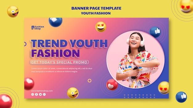 Modelo de banner de conceito de moda jovem