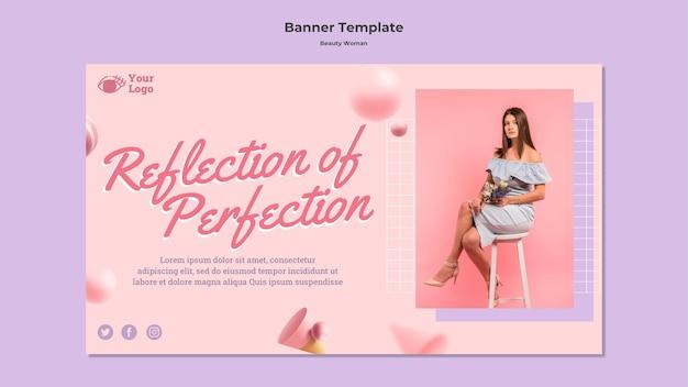Modelo de banner de conceito de mulher de beleza