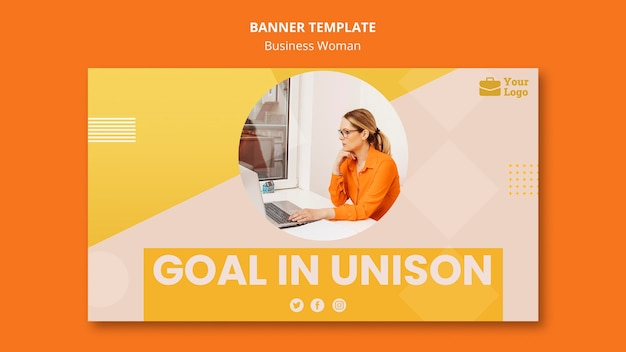 Modelo de banner de conceito de mulher de negócios