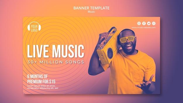Modelo de banner de conceito de música