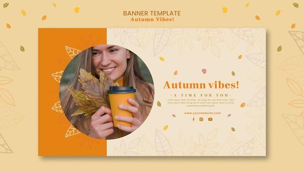 Modelo de banner de conceito de outono