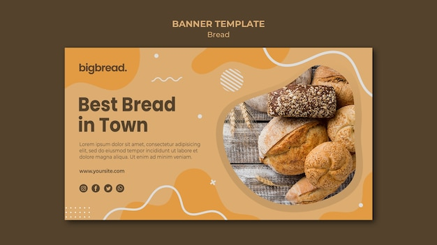 Modelo de banner de conceito de pão