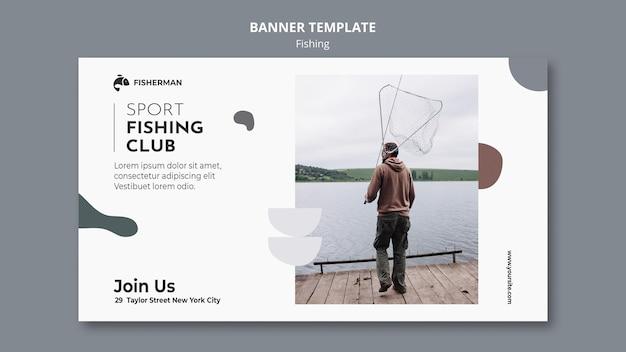 Modelo de banner de conceito de pesca