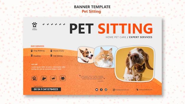 Modelo de banner de conceito de pet sitting