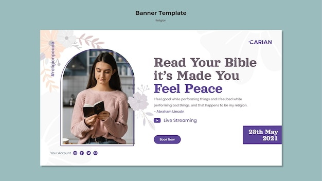 Modelo de banner de conceito de religiões