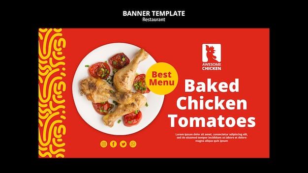 Modelo de banner de conceito de restaurante