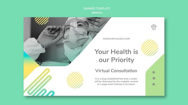 Modelo de banner de conceito de saúde