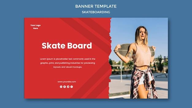 Modelo de banner de conceito de skate