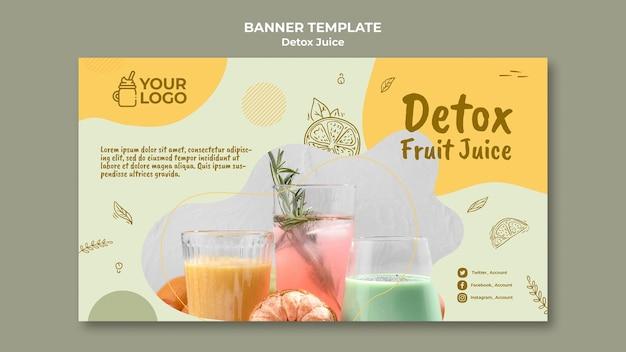 Modelo de banner de conceito de suco desintoxicante