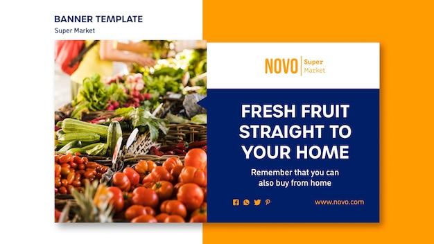 Modelo de banner de conceito de supermercado