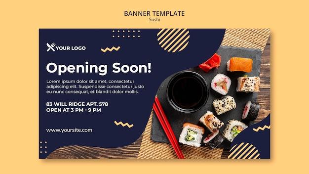 Modelo de banner de conceito de sushi