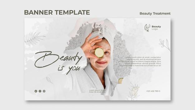 Modelo de banner de conceito de tratamento de beleza