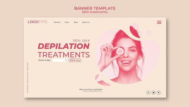 Modelo de banner de conceito de tratamento de pele