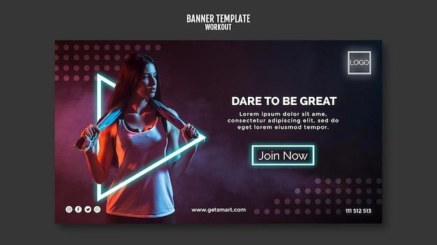 Modelo de banner de conceito de treino