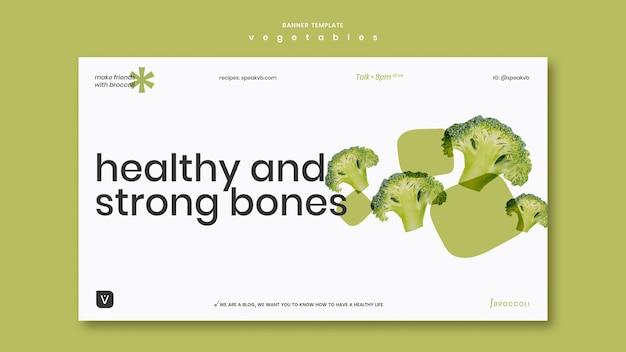 Modelo de banner de conceito de vegetais
