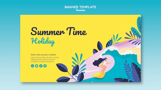 Modelo de banner de conceito de verão