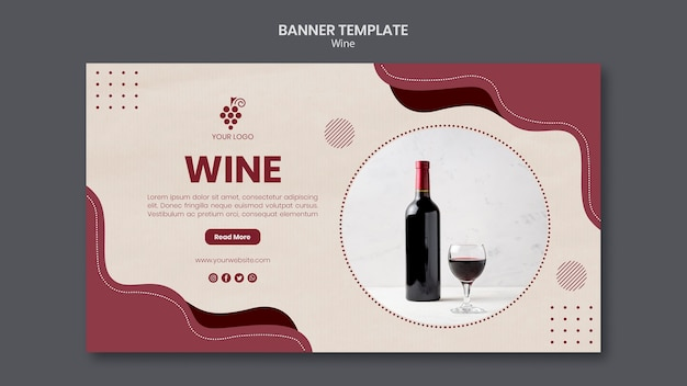 Modelo de banner de conceito de vinho