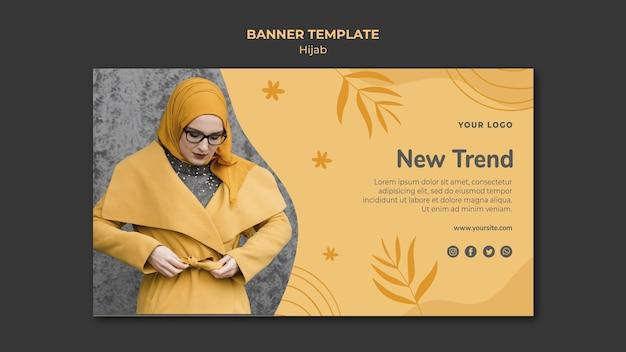Modelo de banner de conceito hijab