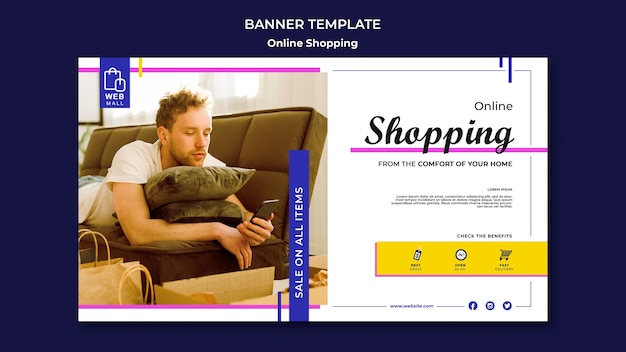 Modelo de banner de conceito on-line de compras