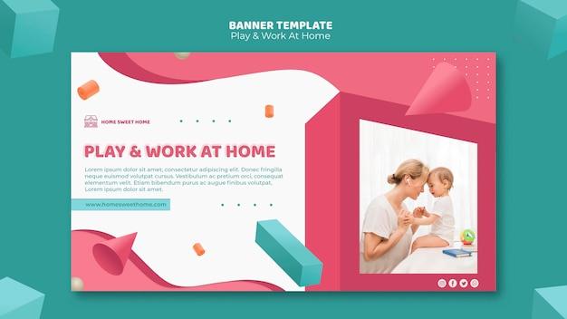 Modelo de banner de conceito para brincar e trabalhar em casa