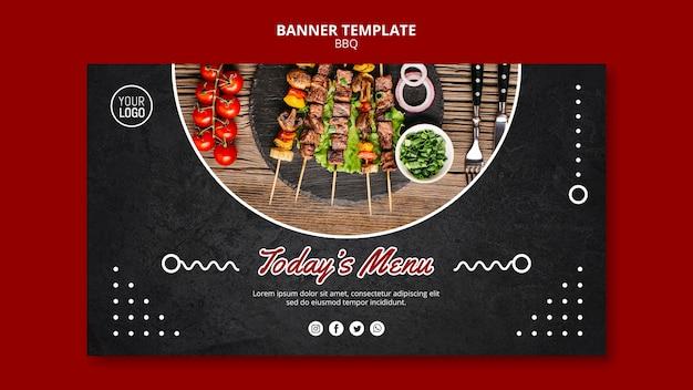 Modelo de banner de conceito para churrasco