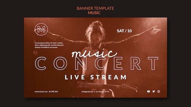 Modelo de banner de concerto de música ao vivo