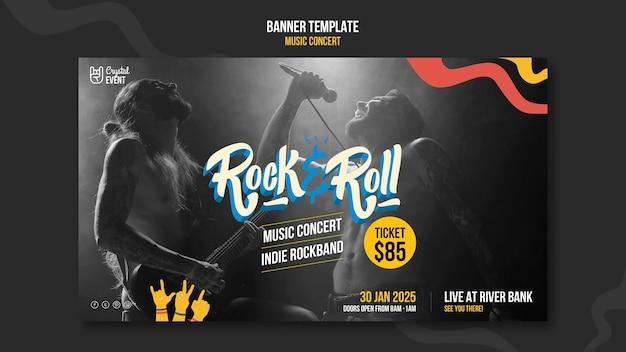 Modelo de banner de concerto de música rock